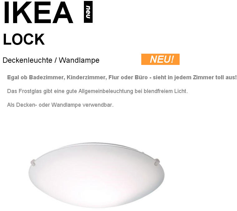 lock deckenleuchte wandlampe v ikea frostglas neu ovp ebay. Black Bedroom Furniture Sets. Home Design Ideas